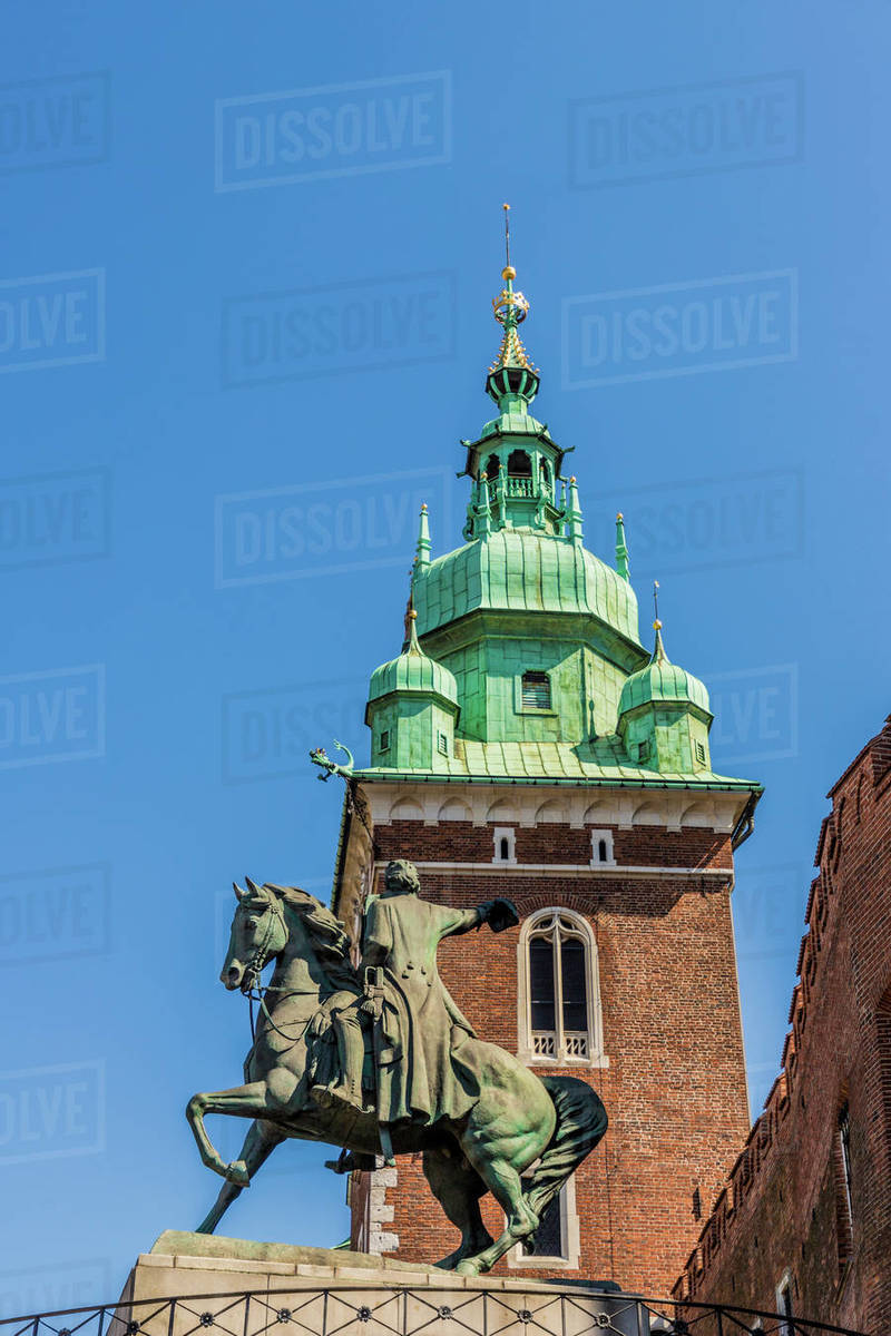Tadeusz Kosciuszko statue, Wawel Royal Castle, UNESCO World Heritage Site, in the medieval old town, in Krakow, Poland, Europe Rights-managed stock photo