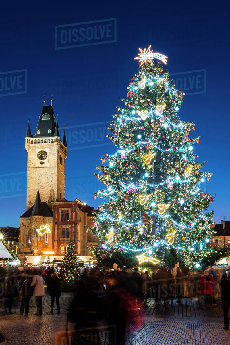 Christmas Market at Old Town Square, including Christmas tree and Gothic Town Hall, Old Town, UNESCO World Heritage Site, Prague, Czech Republic, Europe Royalty-free stock photo