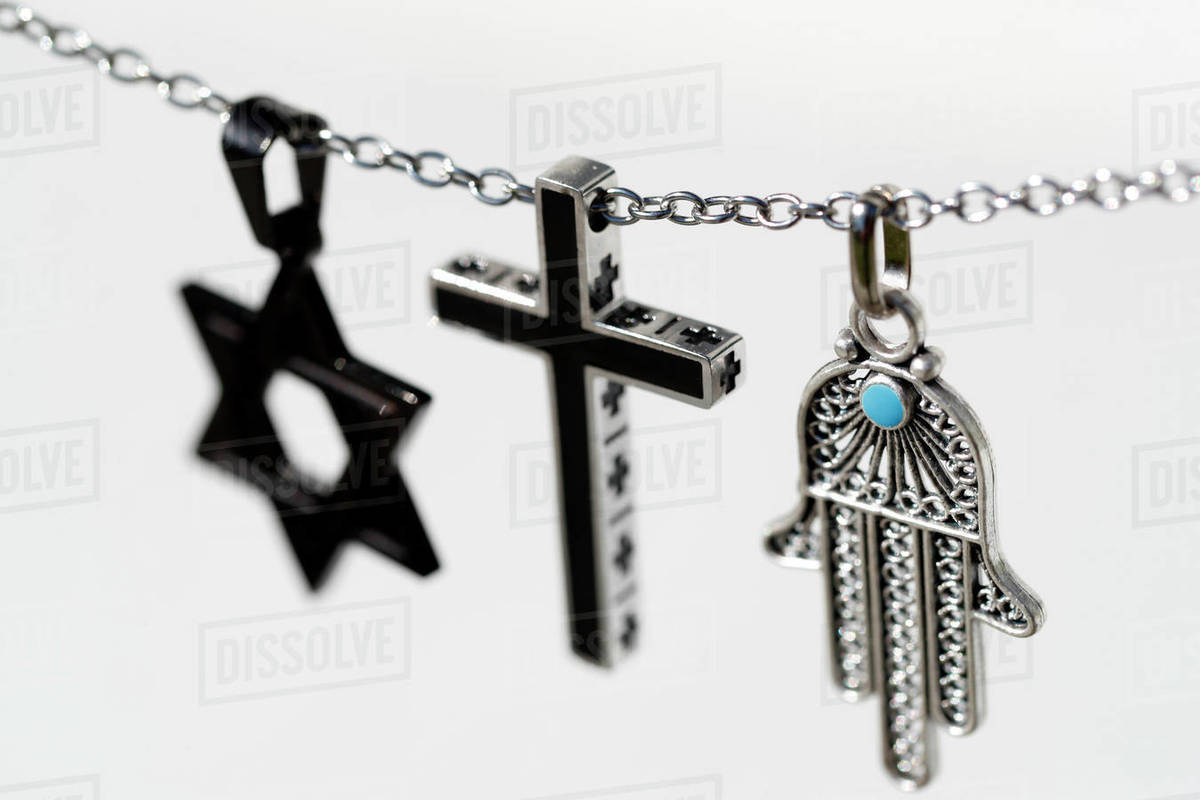 Religious symbols of Christianity, Islam and Judaism, the three monotheistic religions, Interfaith dialogue, France, Europe Royalty-free stock photo