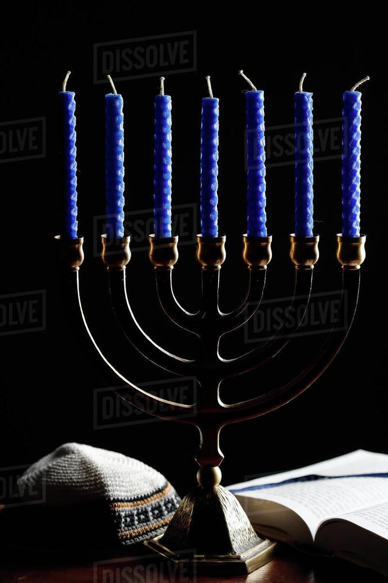Menorah, kippah and Torah, Jewish symbols, France, Europe Royalty-free stock photo