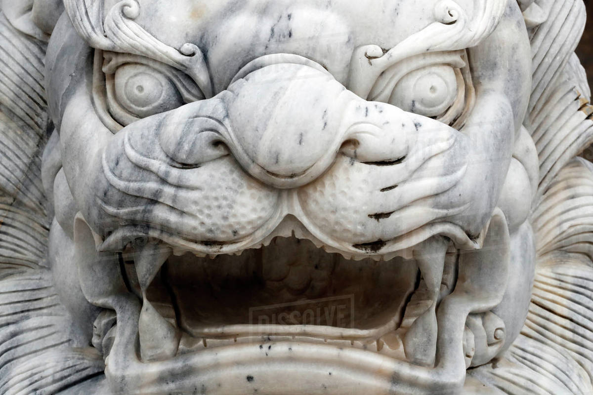 Long Khanh Buddhist Pagoda, Imperial guardian lion statue at entrance, Quy Nhon, Vietnam, Indochina, Southeast Asia, Asia Royalty-free stock photo