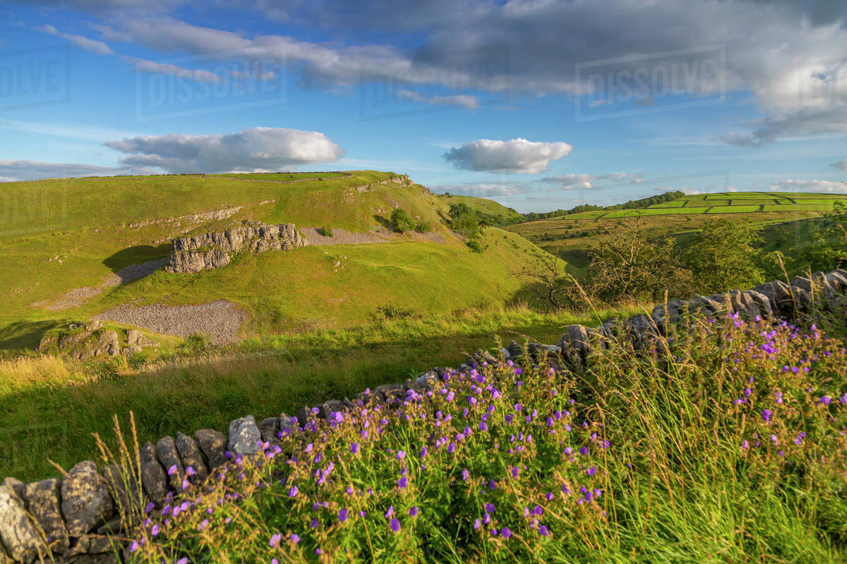 Landscape view of countryside and dry stone walls near Litton, Peak District National Park, Derbyshire, England, United Kingdom, Europe Royalty-free stock photo