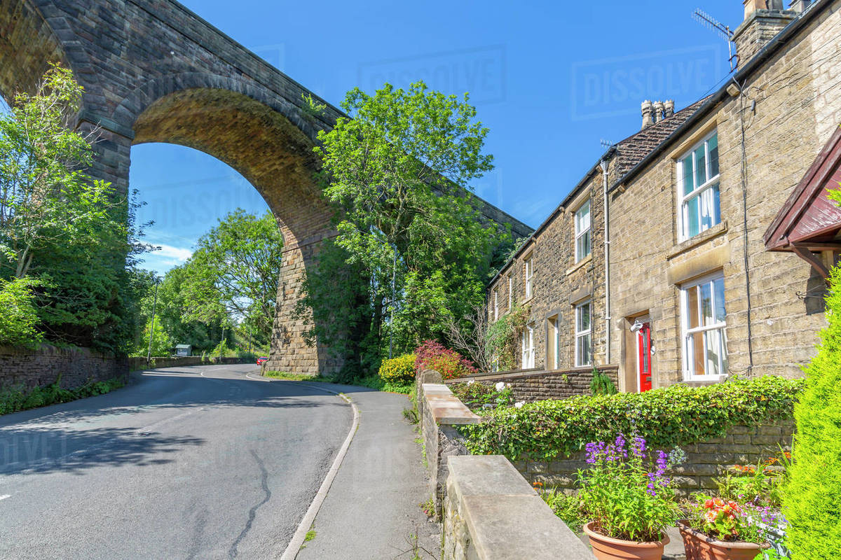 View of railway viaduct and cottages at Chapel Milton, Derbyshire, England, United Kingdom, Europe Royalty-free stock photo