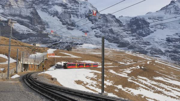 Train to Jungfraujoch, Kleine Scheidegg, Jungfrau region, Bernese Oberland, Swiss Alps, Switzerland, Europe Royalty-free stock video