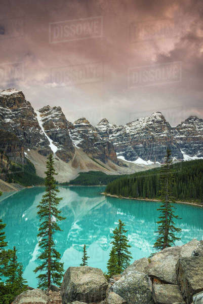 Sunset at Moraine Lake, Banff National Park, UNESCO World Heritage Site, Canadian Rockies, Alberta, Canada, North America Royalty-free stock photo