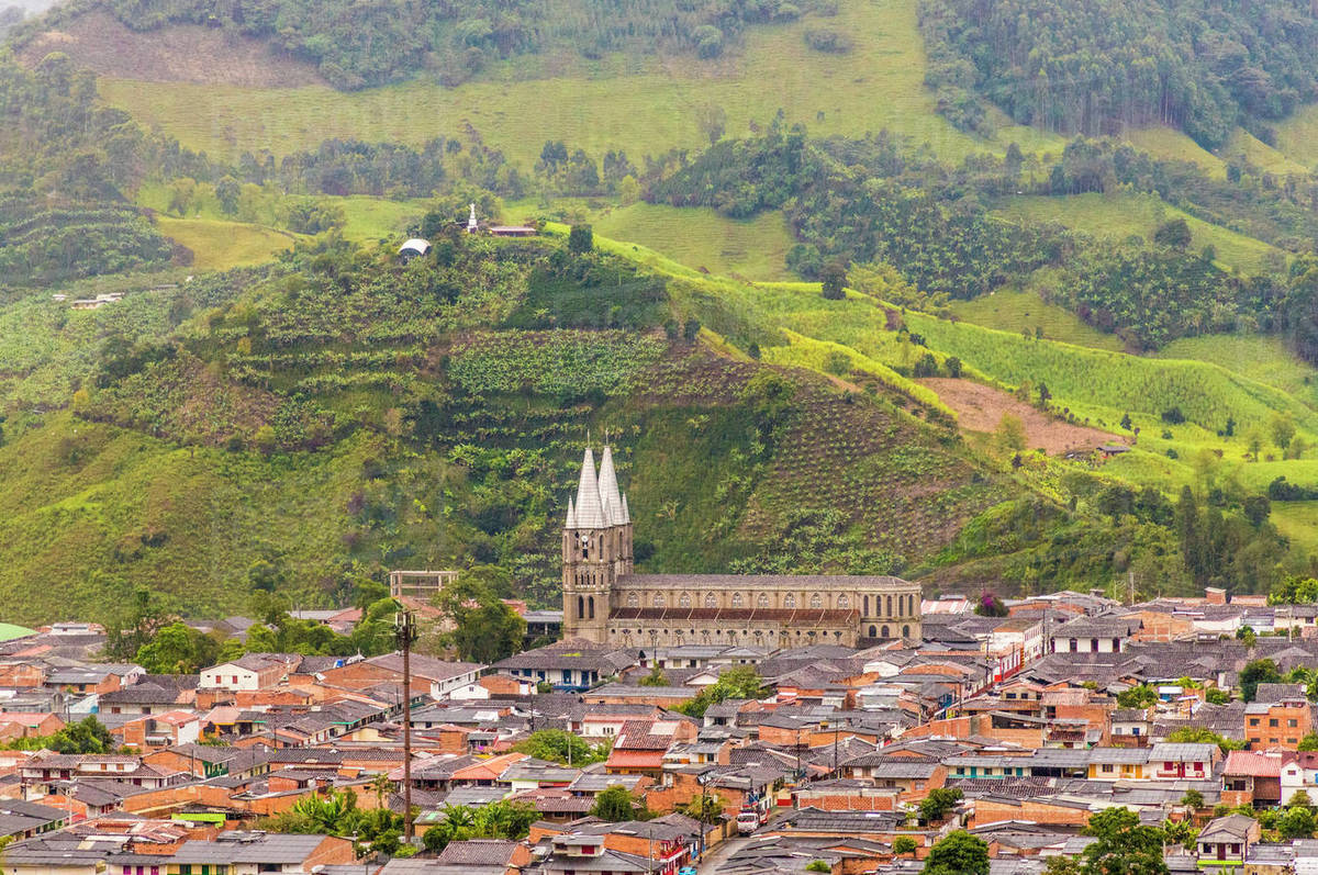 A View Of The Minor Basilica Of The Immaculate Conception Church From A Viewpoint In Jardin Colombia South America Stock Photo