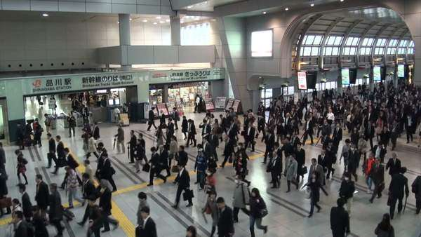 Rush hour at Shinagawa train station in Tokyo Royalty-free stock video