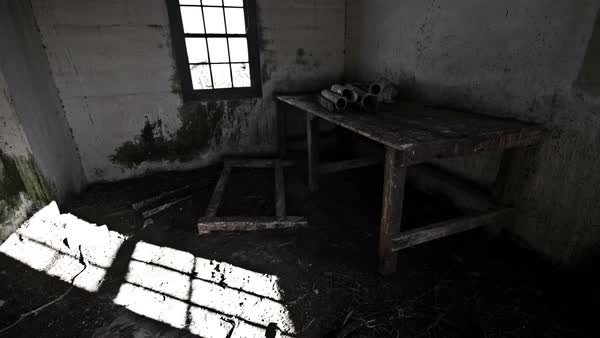 Indoor of abandoned building with shadow timelapse and pigeons Royalty-free stock video