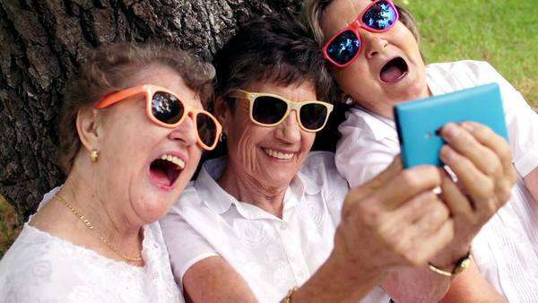 Senior women taking a selfie Royalty-free stock video