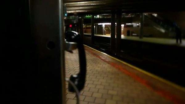 NYC subway station with train entering Royalty-free stock video