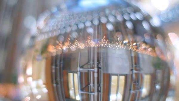 In glass ball is reflected business center hall closeup, timelapse Royalty-free stock video