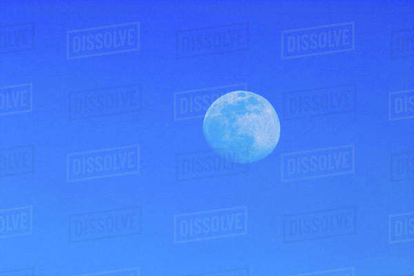 Full moon in blue sky. Royalty-free stock photo