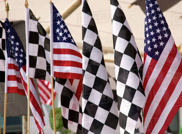 USA, Indiana, Indianapolis. Flags for sale at the Indianapolis Motor Speedway.  Royalty-free stock photo