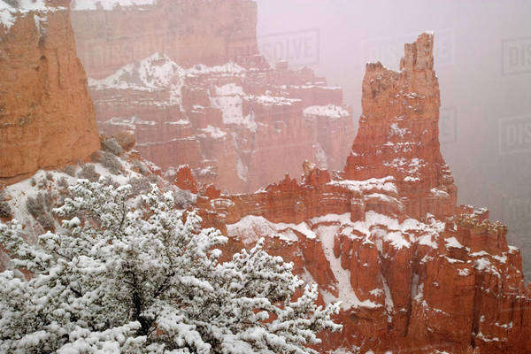 USA, Utah, Bryce Canyon National Park. A view of Paria Valley formations in winter. Royalty-free stock photo
