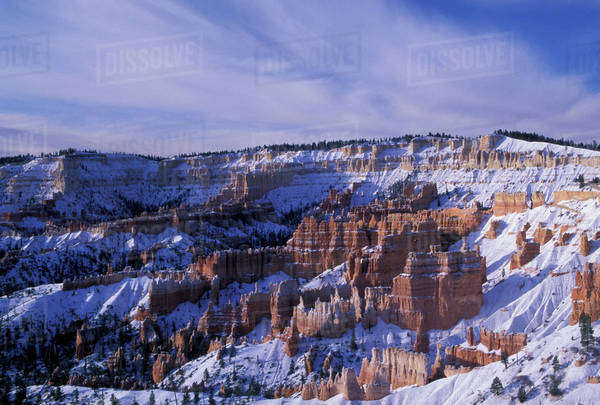 NA, USA, Utah, Bryce Canyon National Park. Bryce canyon in snow, from Sunrise point Royalty-free stock photo