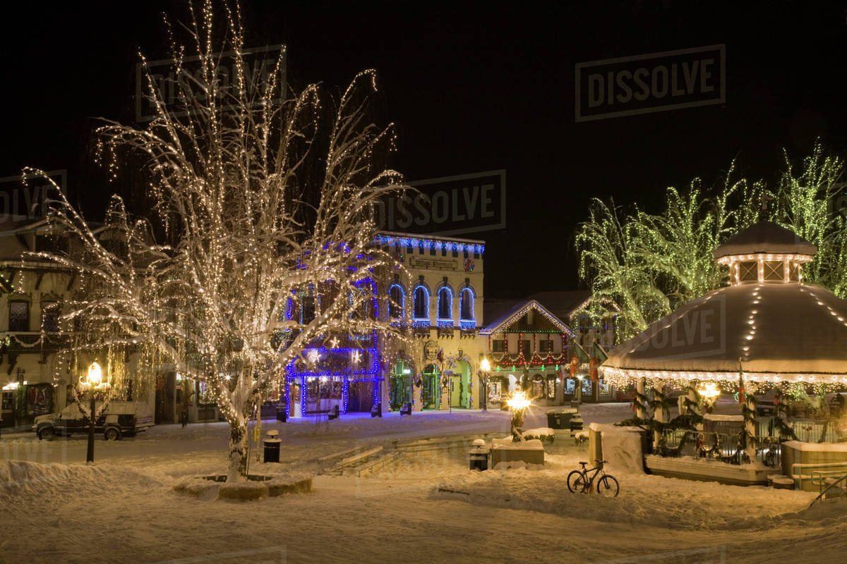 Leavenworth Christmas Lights.Usa Washington Leavenworth Christmas Lights Stock Photo