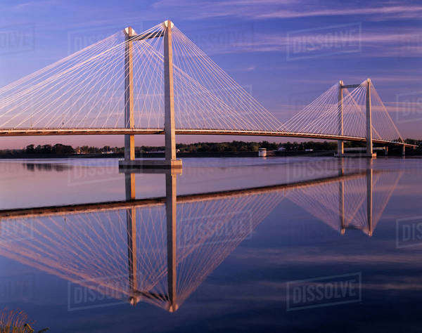 WA, Pasco-Kennewick, Intercity Cable-Stayed Bridge over Columbia River at sunrise Royalty-free stock photo