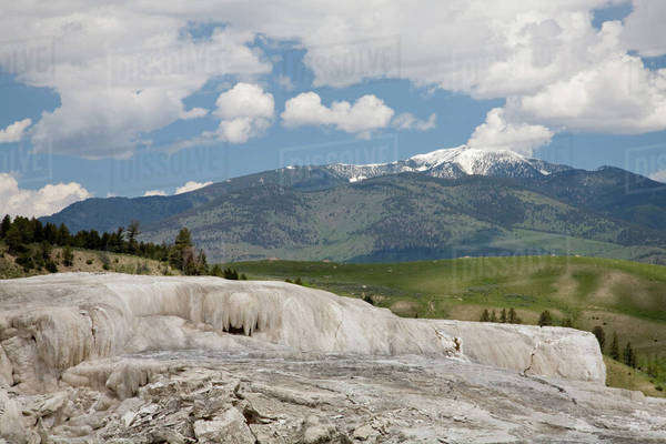 WY, Yellowstone National Park, Mammoth Hot Springs, Travertine Terraces, Upper Terrace area Royalty-free stock photo