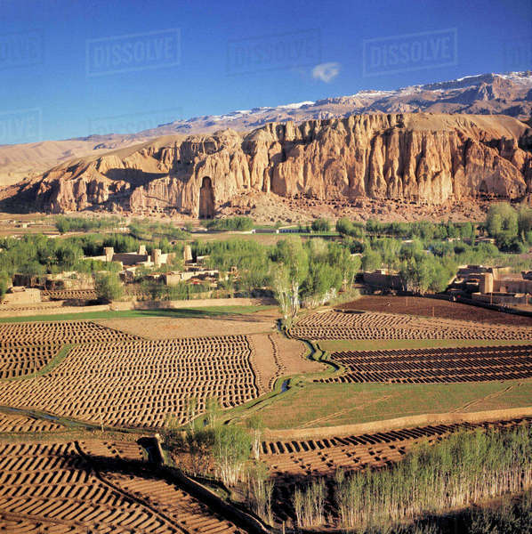 Afghanistan, Bamian Valley. Ancient irrigation methods still exist in the Bamian Valley in Afghanistan, a World Heritage Site. Royalty-free stock photo