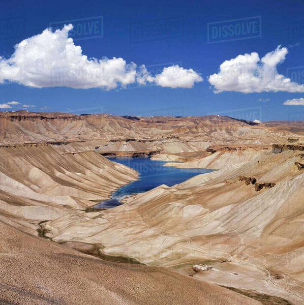 Afghanistan, Band-i-Amir Lakes. A series of clear blue lakes exist in the arid climate of the Hindu Kush Mountains in Afghanistan. Royalty-free stock photo