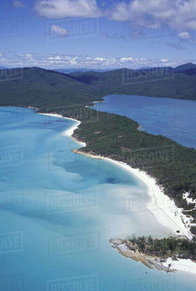 Australia, The Whitsundys, Queensland. Hill Inlet from the air; miles of white sand beaches Royalty-free stock photo