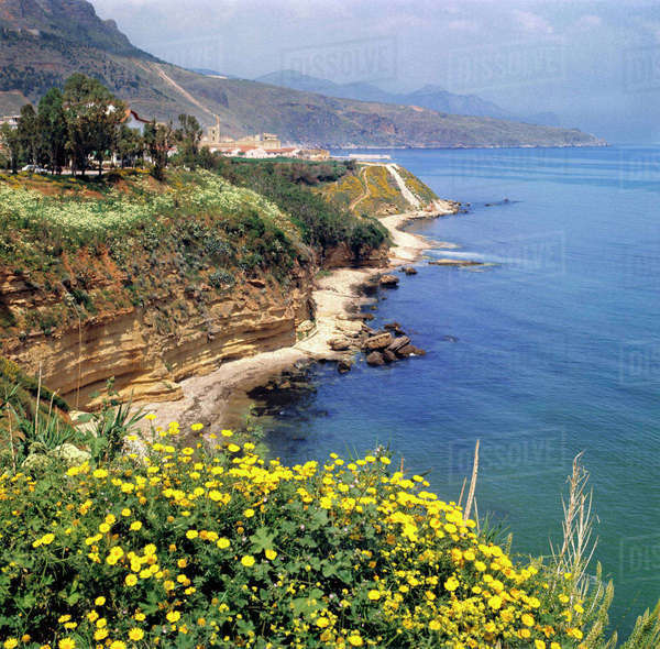 Italy, Sicily. The north coast of Sicily in Italy, offers few beaches. Royalty-free stock photo