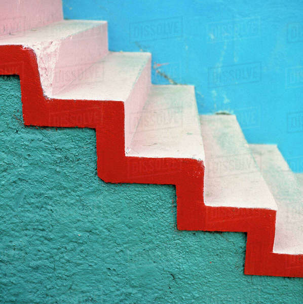 South America, Argentina, Buenos Aires. Stark, colorful and striking stairs are part of La Boca, Buenos Aires, Argentina. Royalty-free stock photo