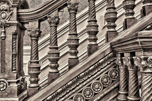 Woodwork on a railing at the Tippecanoe County Courthouse, Lafayette, Indiana. Royalty-free stock photo