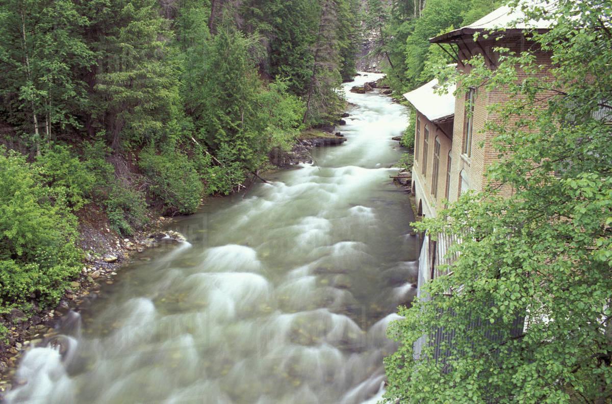N A , USA, Washington, Metaline Falls, An old power plant on Sullivan Creek  stock photo