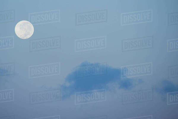 Australia, Northern Territory, Darwin. Full moon, moonrise with blue sky. Rights-managed stock photo