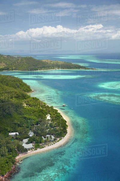 Malolo Island Resort, Malolo Island, Mamanuca Islands, Fiji, South Pacific, aerial Rights-managed stock photo