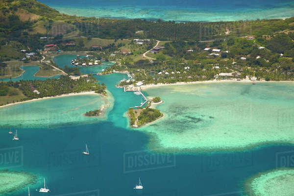 Musket Cove Island Resort, Malolo Lailai Island, Mamanuca Islands, Fiji, South Pacific, aerial Rights-managed stock photo
