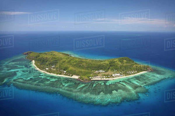 Tokoriki Island, Mamanuca Islands, Fiji, South Pacific, aerial Rights-managed stock photo