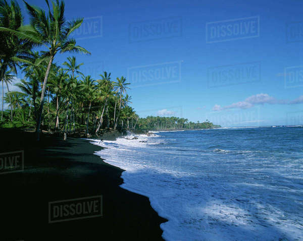 Kalapana Black Sand Beach, Island of Hawaii Rights-managed stock photo