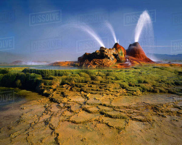 NEVADA. USA. Geyser Hot Springs, aka Fly Geyser. Boiling artesian well drilled c.1917. Black Rock Desert. Great Basin. Rights-managed stock photo