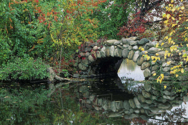 USA, New York, Long Island. Trees in fall colors by pond and stone bridge at Hecksher Museum Rights-managed stock photo