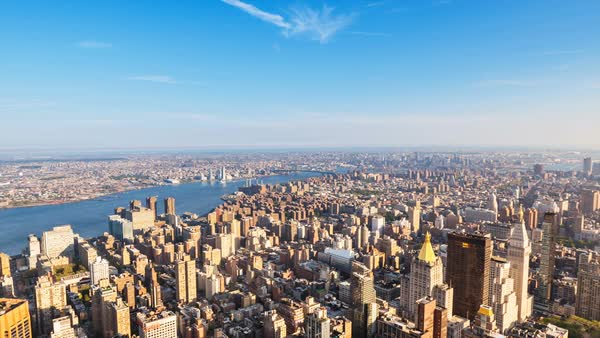 WS ZO Midtown Manhattan cityscape and East river Royalty-free stock video