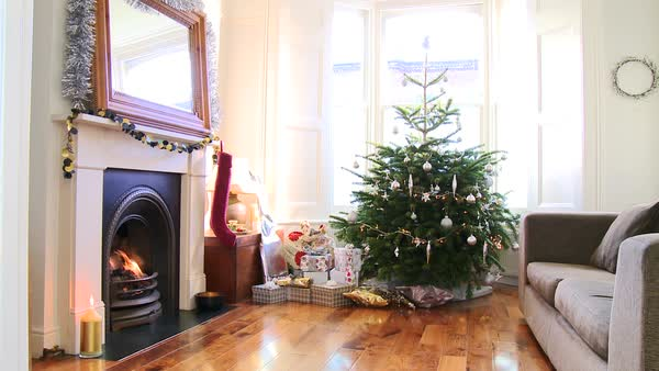 Living room with Christmas tree and presents Royalty-free stock video