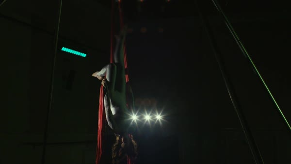 Young woman performing on aerial silk Royalty-free stock video