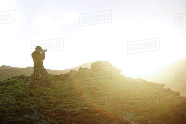 Man photographing view, Iceland Royalty-free stock photo