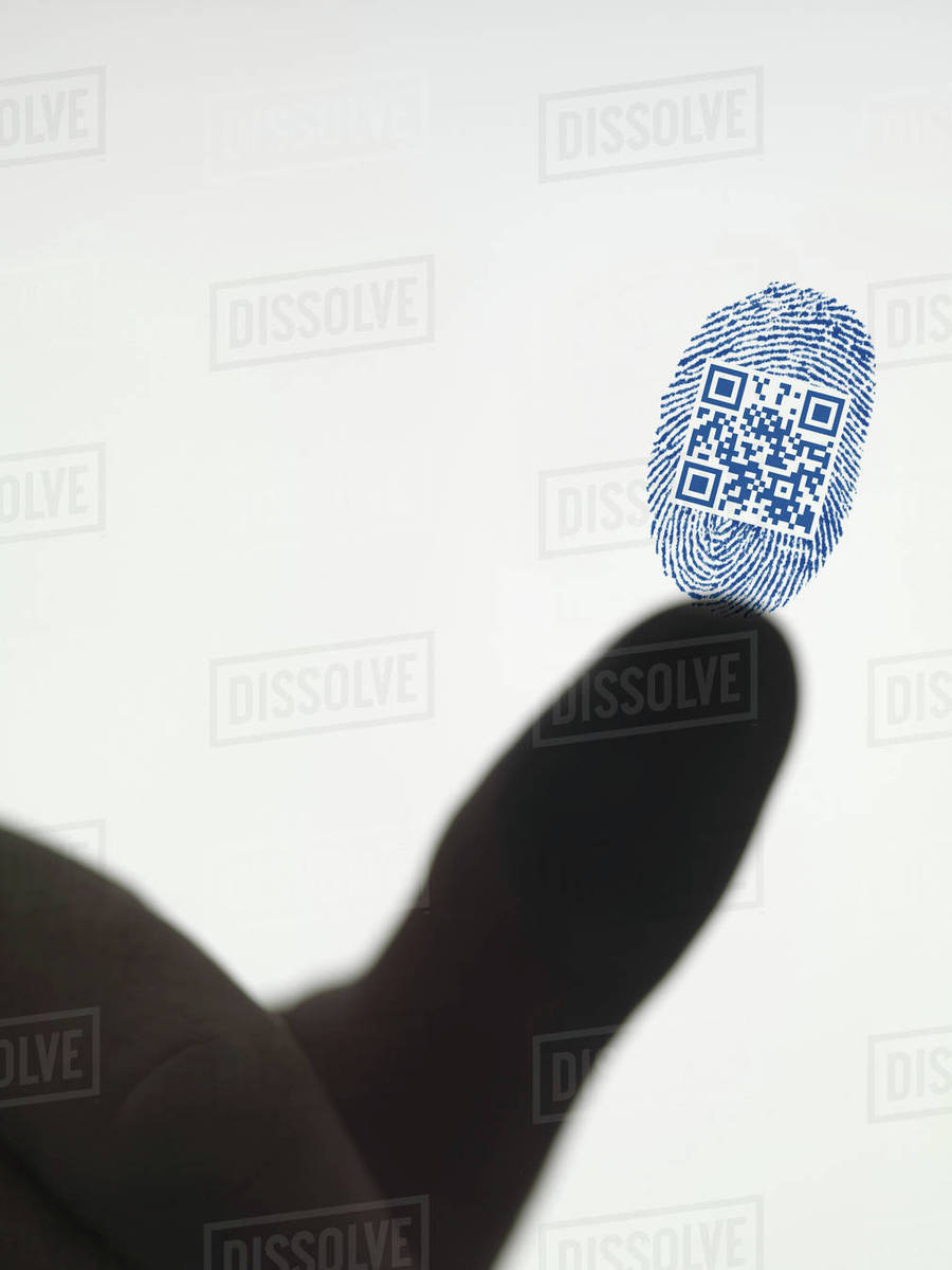 Finger leaving QR code in fingerprint stock photo