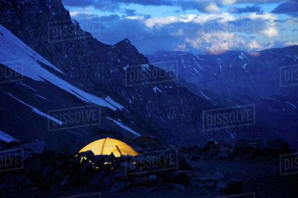 View from Camp One on Aconcagua in the Andes Mountains, Mendoza Province, Argentina Royalty-free stock photo