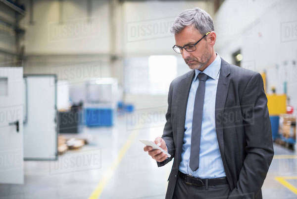 Serious business manager looking at smartphone in distribution warehouse Royalty-free stock photo