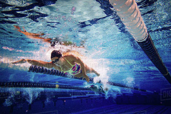 Swimmer doing freestyle in lane Royalty-free stock photo