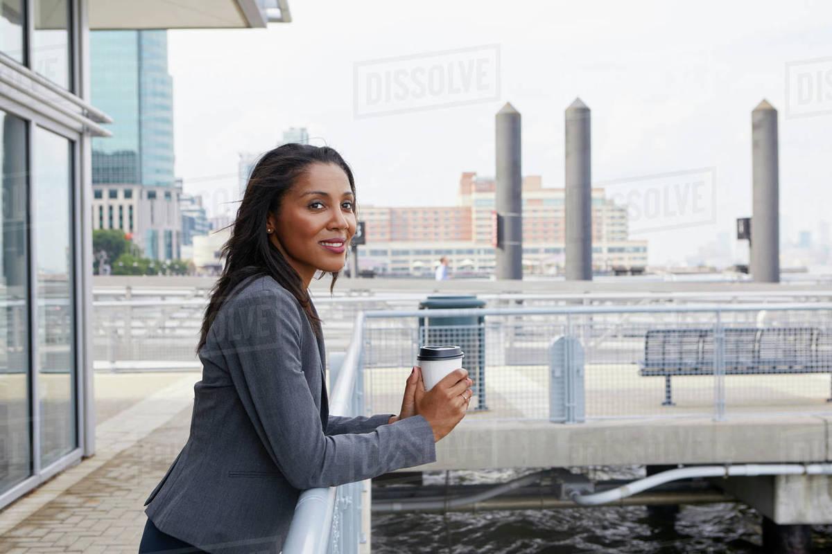 Take Break Coffeebreak : Businesswoman taking coffee break stock photo dissolve