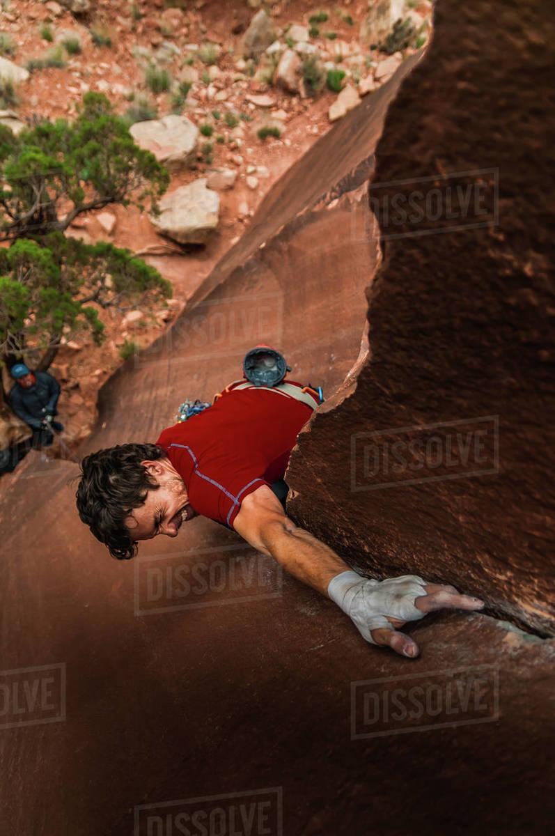 Man trad climbing, Indian Creek, Moab, Utah, USA Royalty-free stock photo