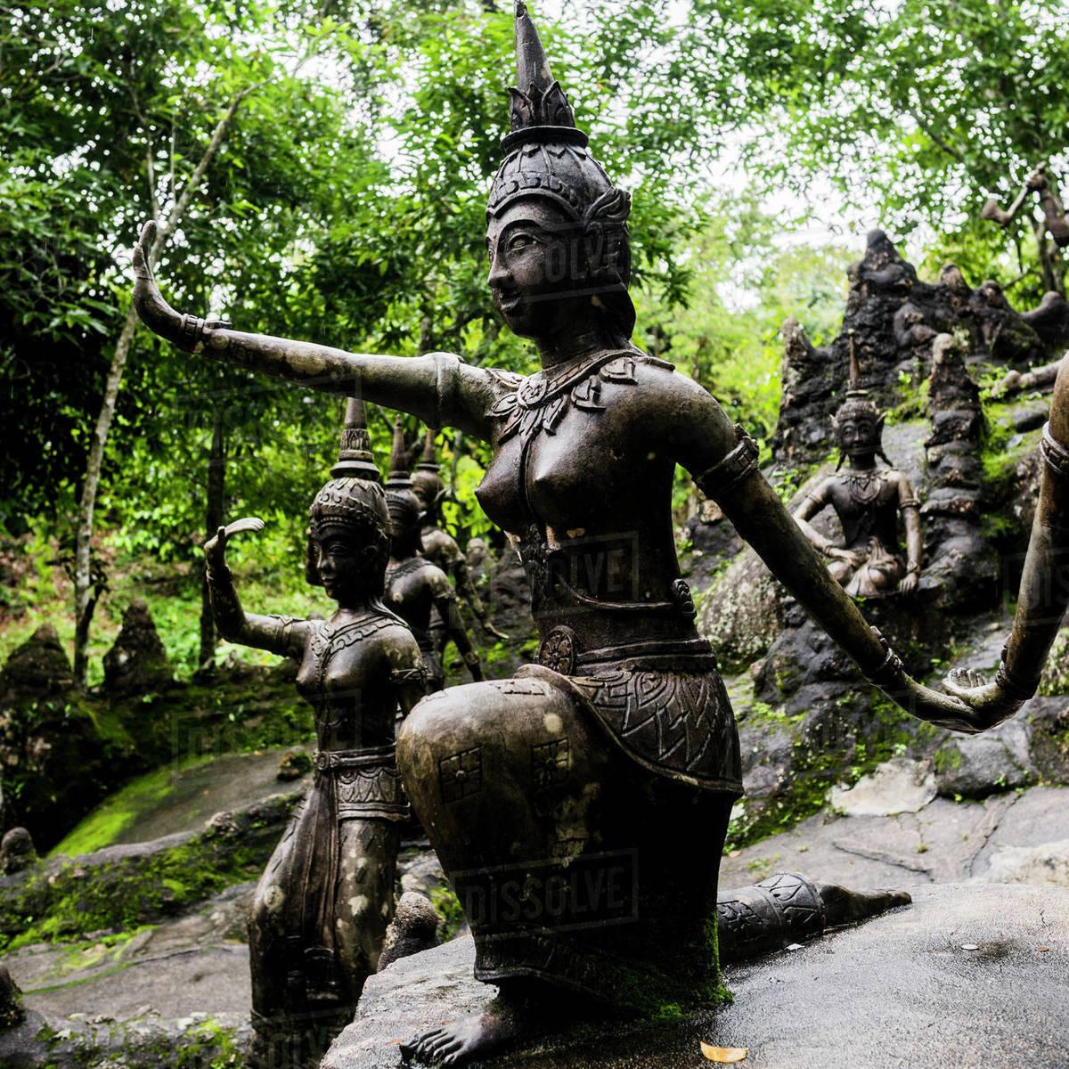 Secret Buddha Garden Statues In Rainforest Koh Samui Thailand Stock Photo Dissolve