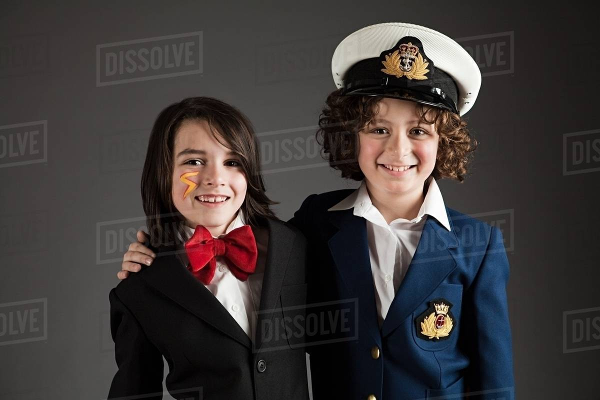 9b117502 Young boys dressed up in sailor outfit and red bow tie - Stock Photo ...