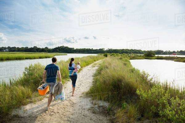 Rear view of mid adult parents carrying baby daughter on riverside picnic Royalty-free stock photo
