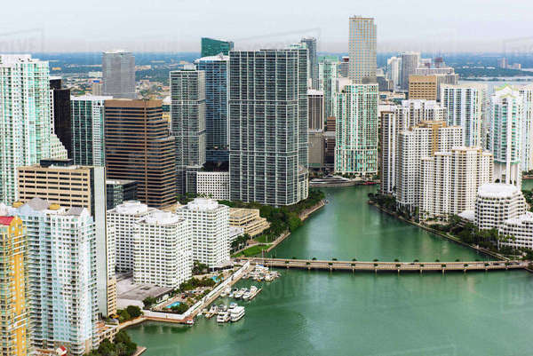 Skyscrapers and bridge, Brickell, Downtown Miami, Florida, USA Royalty-free stock photo